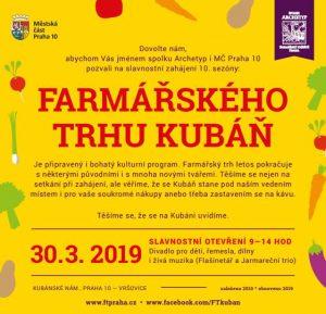 Slavnostní zahájení 10. sezóny Farmářského trhu na Kubáni 30.3.2019